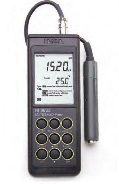 Hanna Instruments HI 9835 Digital, Portable Conductivity-TDS-Salinity Metr